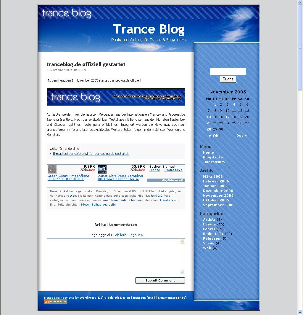 Screenshot trance blog